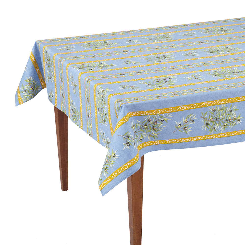 Clos des Oliviers Bleu Striped Rectangular French Tablecloth