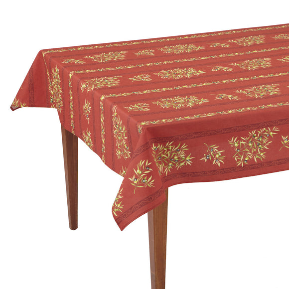 Clos des Oliviers Rouge Striped Rectangular French Tablecloth