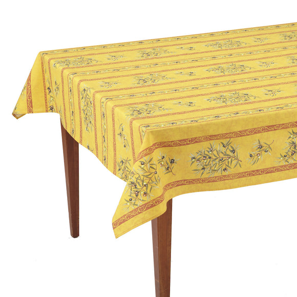 Clos des Oliviers Safran Striped Rectangular French Tablecloth