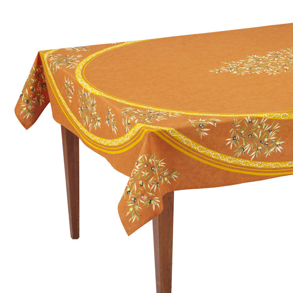 Clos des Oliviers Orange Rectangular French Tablecloth