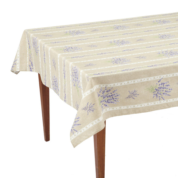Valensole Beige Striped Rectangular French Tablecloth