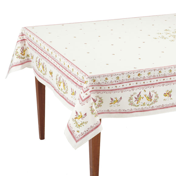 Moustiers Blanc/Rose Rectangular French Tablecloth