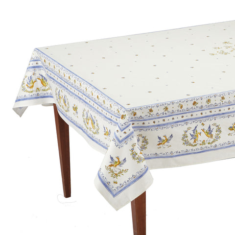 Moustiers Blanc/Bleu Rectangular French Tablecloth