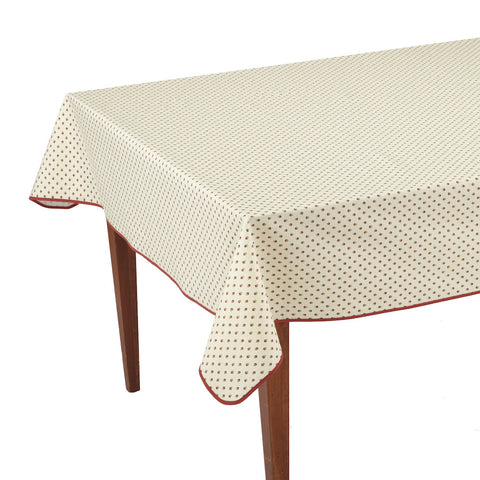 Esterel Ecru/Bordeaux Rectangular French Tablecloth
