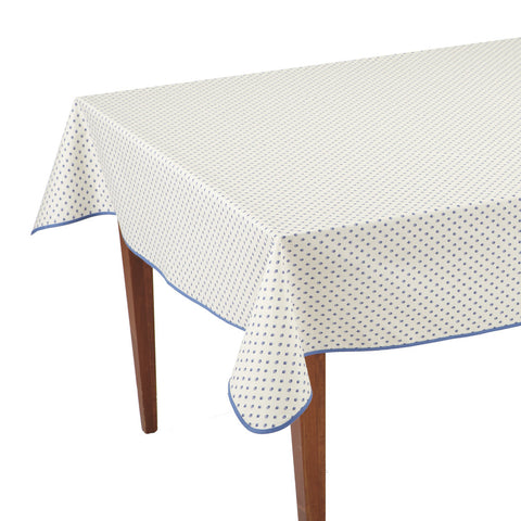 Esterel Ecru/Ciel Rectangular French Tablecloth