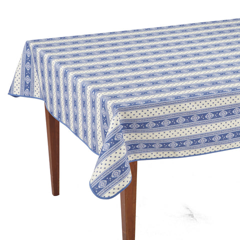 Esterel Ecru/Ciel Striped Rectangular French Tablecloth