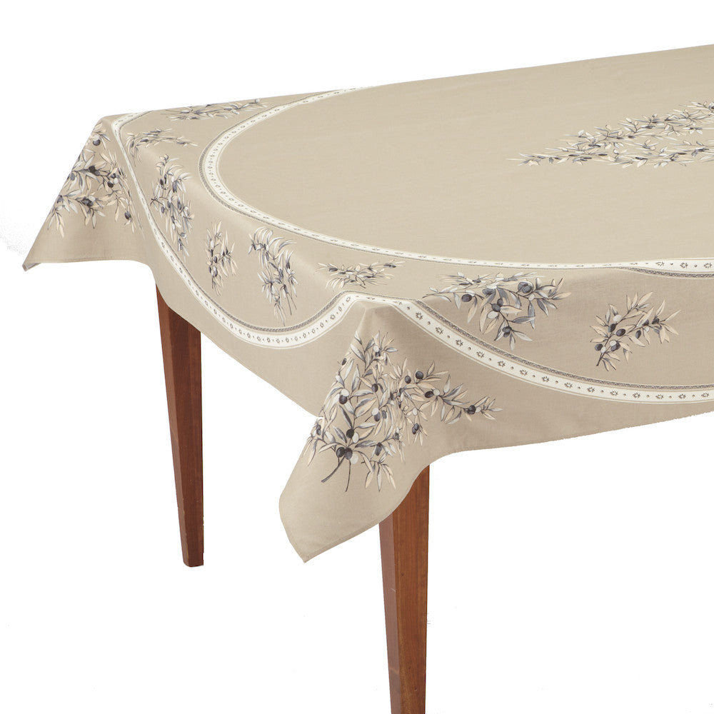 Olives les Baux Lin Rectangular French Tablecloth