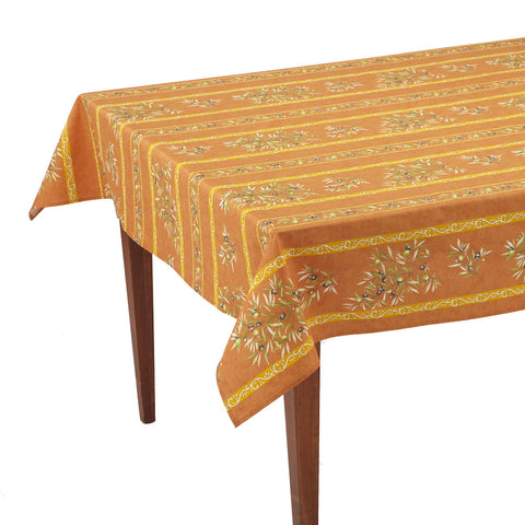 Clos des Oliviers Orange Striped Rectangular French Tablecloth