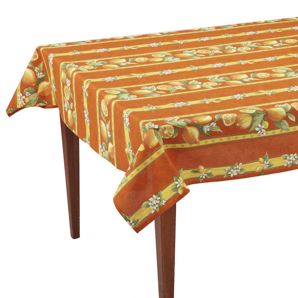 Citrons Orange Striped Rectangular French Tablecloth
