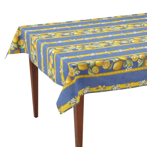 Citrons Bleu Striped Rectangular French Tablecloth