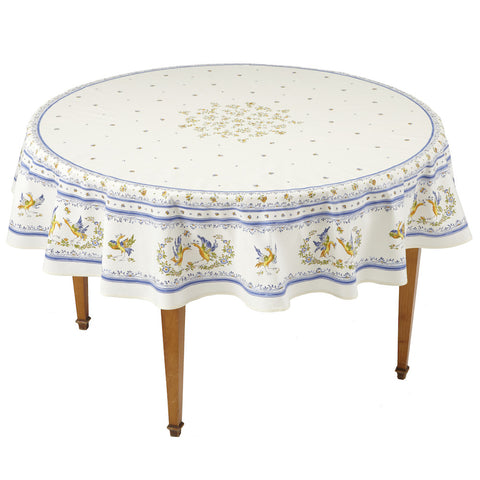 Moustiers Blanc/Bleu Round French Tablecloth