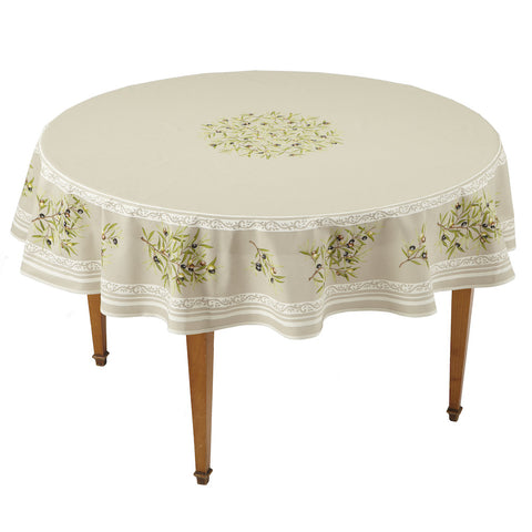 Clos des Oliviers Taupe Round French Tablecloth