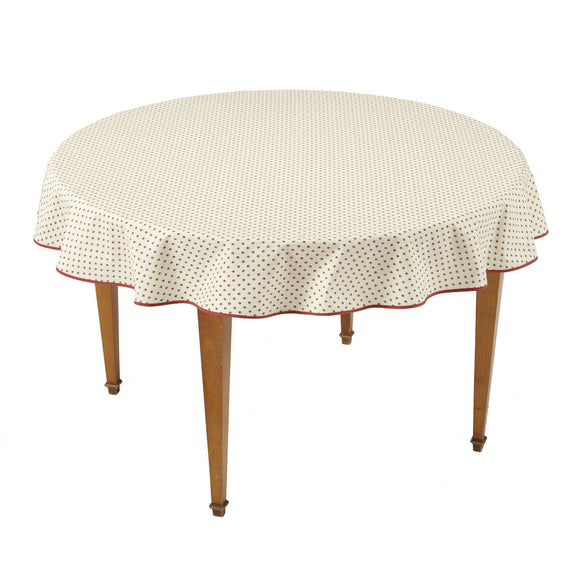 Esterel Ecru/Bordeaux Round French Tablecloth