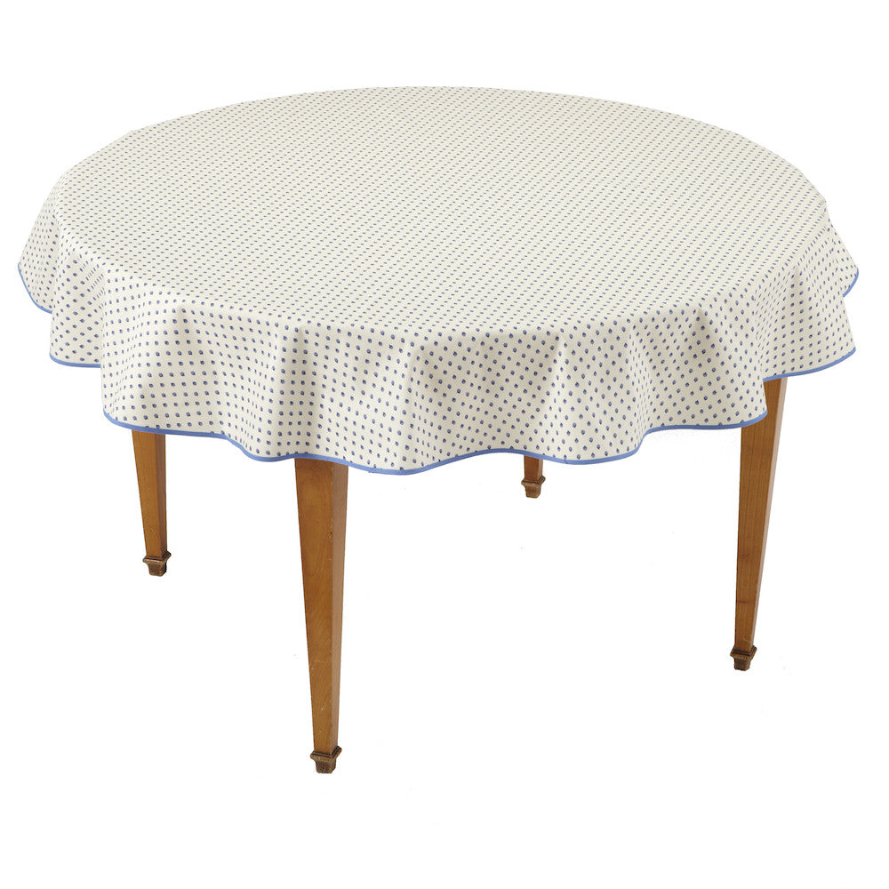 Esterel Ecru/Ciel Round French Tablecloth