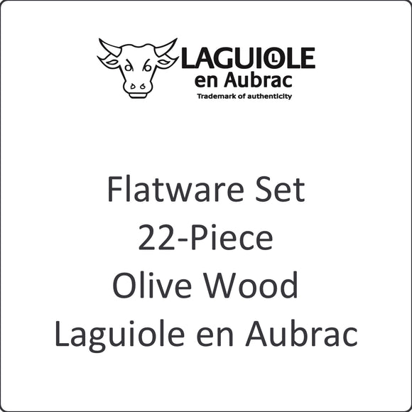 Flatware Set, 22-Piece, Olive Wood, Laguiole en Aubrac