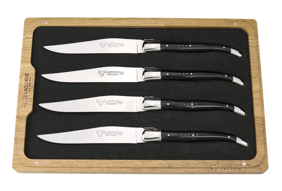 Steak Knives, Buffalo Horn Handles, Set of 4, Laguiole en Aubrac