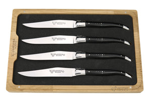 Steak Knives, Ebony Handles, Set of 4, Laguiole en Aubrac