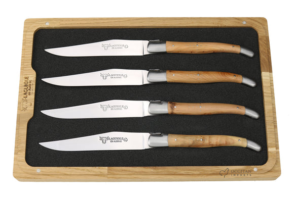 Steak Knives, Juniper Wood Handles, Set of 4, Laguiole en Aubrac