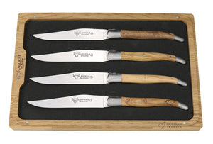 Steak Knives, Olive Wood Handles, Set of 4, Laguiole en Aubrac