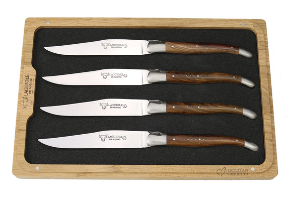 Steak Knives, Pistachio Wood Handles, Set of 4, Laguiole en Aubrac