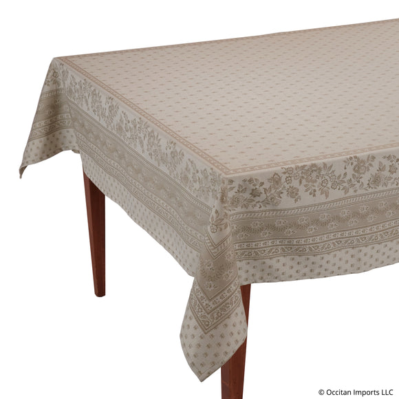 Durance Beige Jacquard Rectangular French Tablecloth