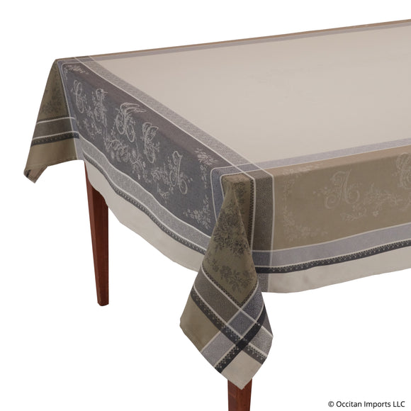Romantique Beige/Gray Jacquard French Tablecloth