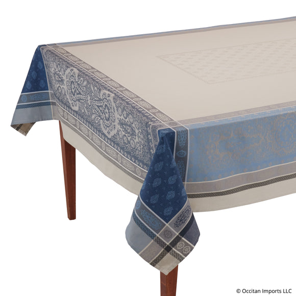 Vaucluse Beige/Blue Jacquard French Tablecloth