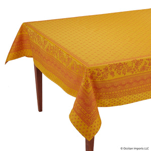 Durance Yellow Jacquard Rectangular French Tablecloth