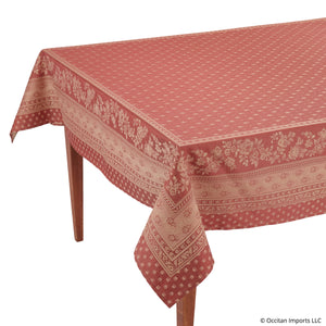 Durance Red Jacquard Rectangular French Tablecloth