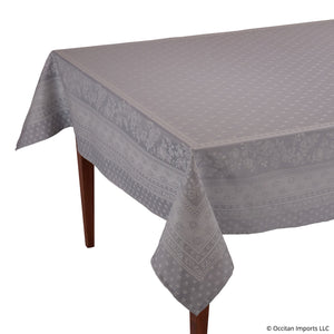 Durance Gray Jacquard Rectangular French Tablecloth