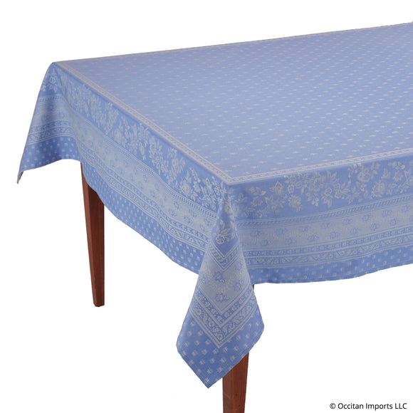 Durance Blue Jacquard Rectangular French Tablecloth