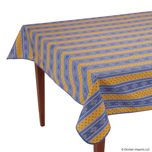 Esterel Jaune/Bleu Striped Rectangular French Tablecloth