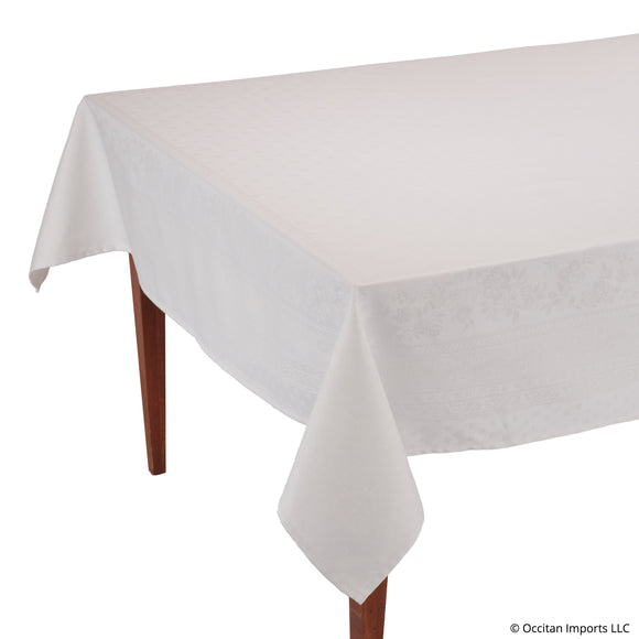 Durance White Jacquard Rectangular French Tablecloth