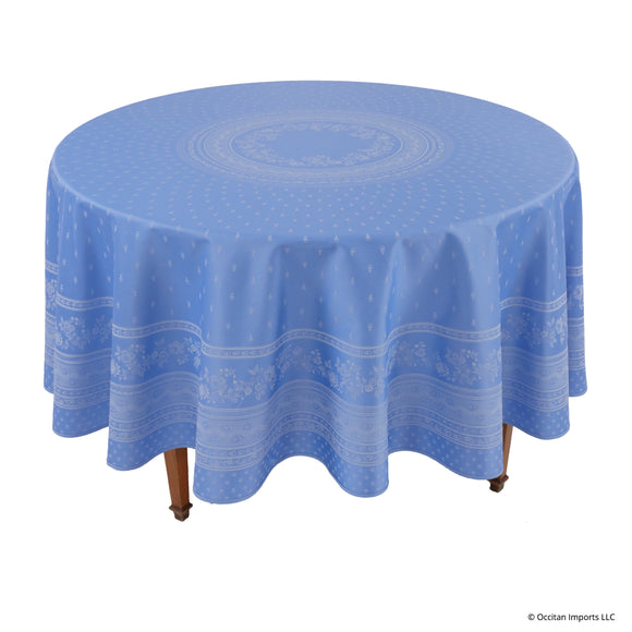 Durance Blue Jacquard Round French Tablecloth