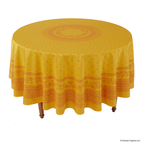 Durance Yellow Jacquard Round French Tablecloth