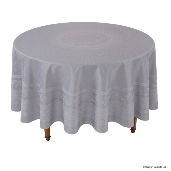 Durance Gray Jacquard Round French Tablecloth