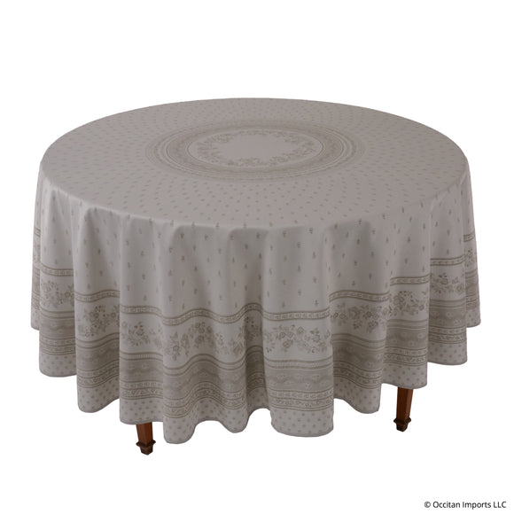 Durance Beige Jacquard Round French Tablecloth