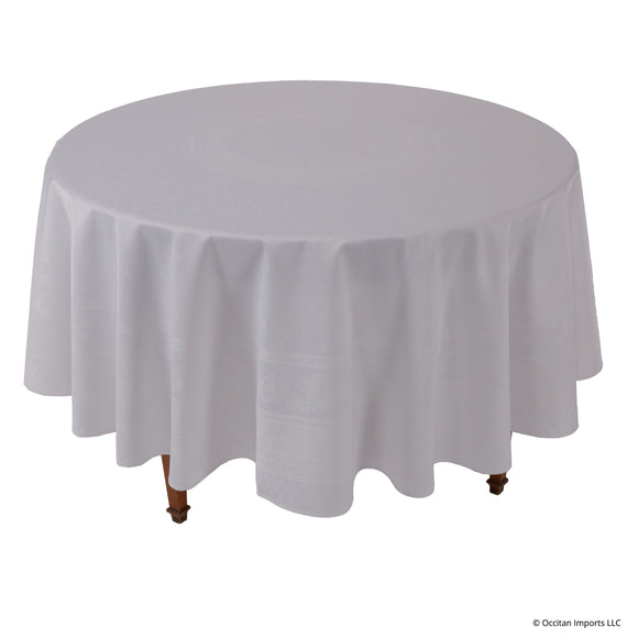 Durance White Jacquard Round French Tablecloth