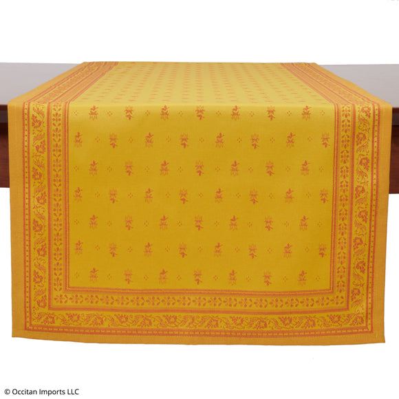 Durance Yellow Jacquard French Table Runner