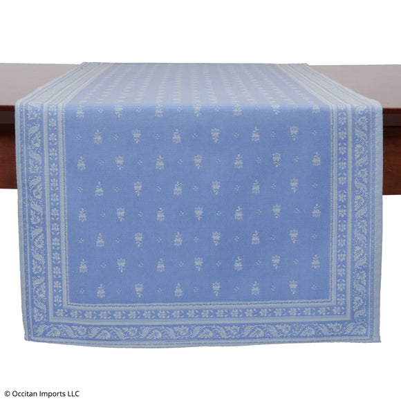 Durance Blue Jacquard French Table Runner