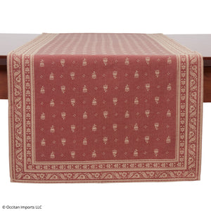 Durance Red Jacquard French Table Runner