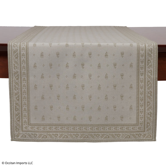 Durance Beige Jacquard French Table Runner