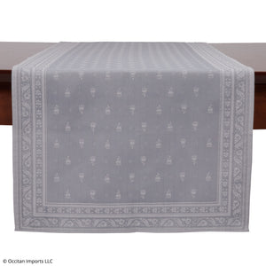 Durance Gray Jacquard French Table Runner