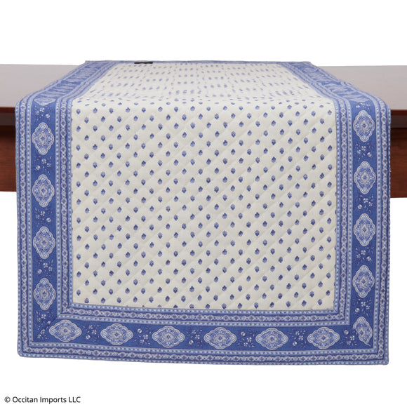 Esterel Ecru/Ciel French Table Runner