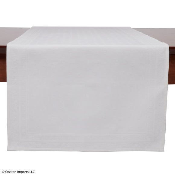 Durance White Jacquard French Table Runner