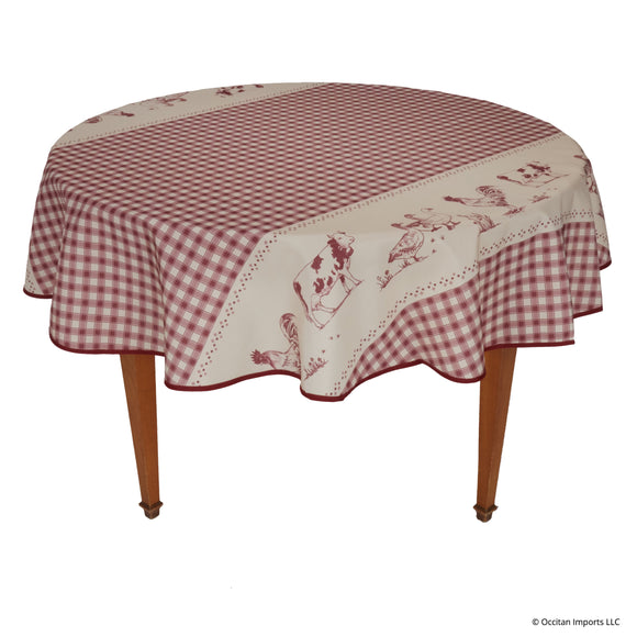 Farm Red Round Easy Care Tablecloth