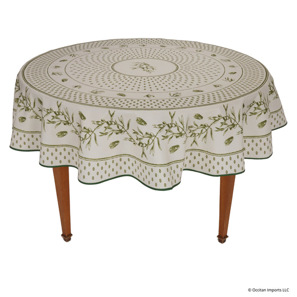 Cigale Green Round Easy Care Tablecloth