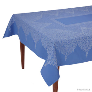 Valentine Bleu Jacquard French Tablecloth