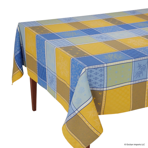 Valbonne Jaune/Bleu Jacquard Rectangular French Tablecloth
