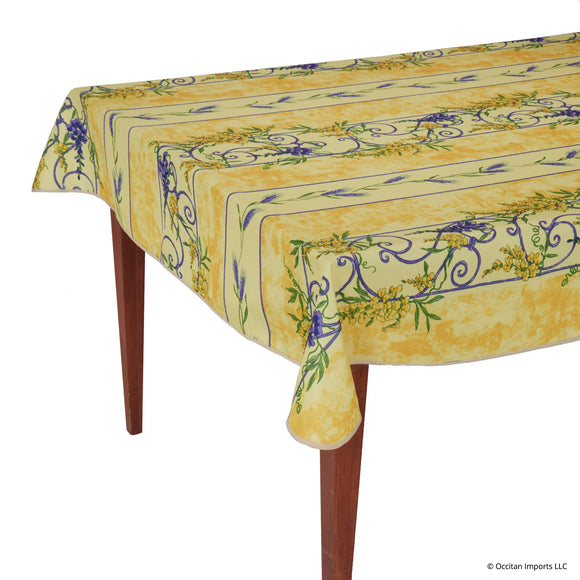 Wisteria Yellow Rectangular Easy Care Tablecloth